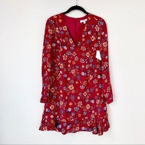 Jack by BB Dakota Deep Red Floral Dress